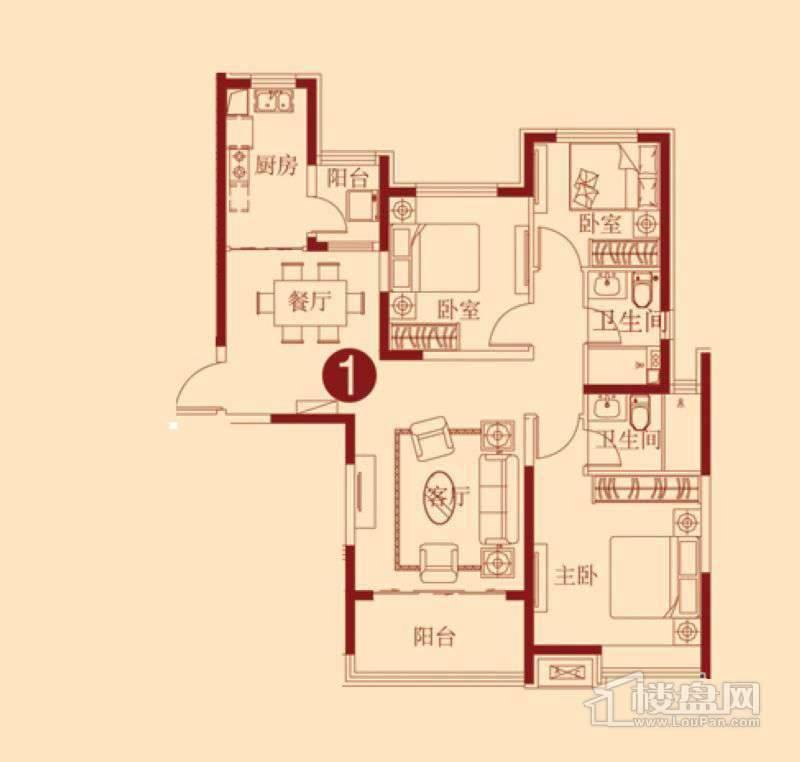恒大绿洲E户型 3室2