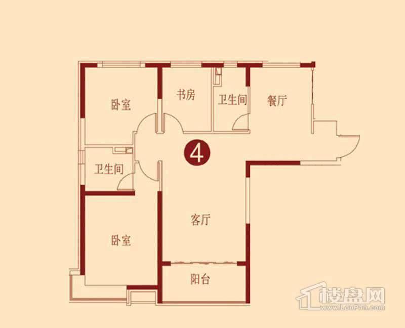 恒大绿洲F户型 3室2