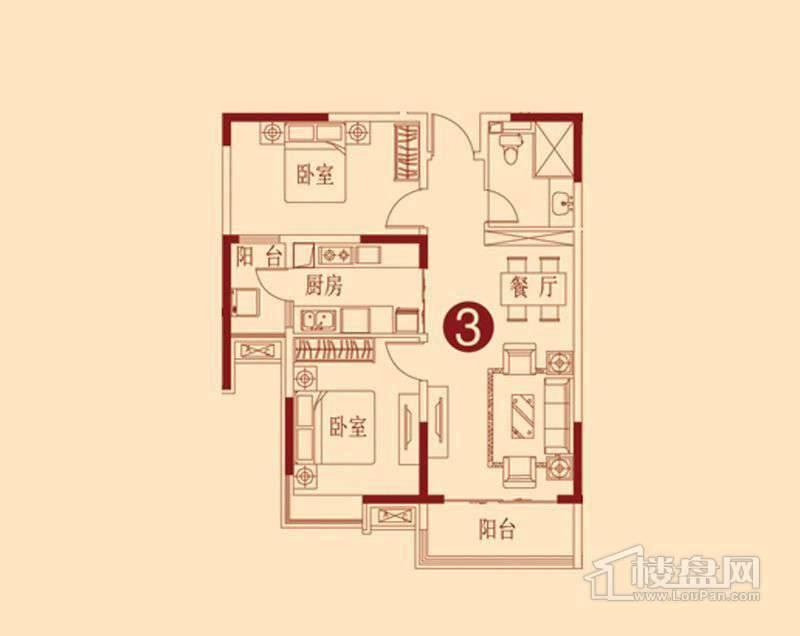 恒大绿洲G户型图 2室