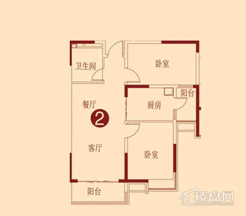 恒大绿洲H户型图 2室