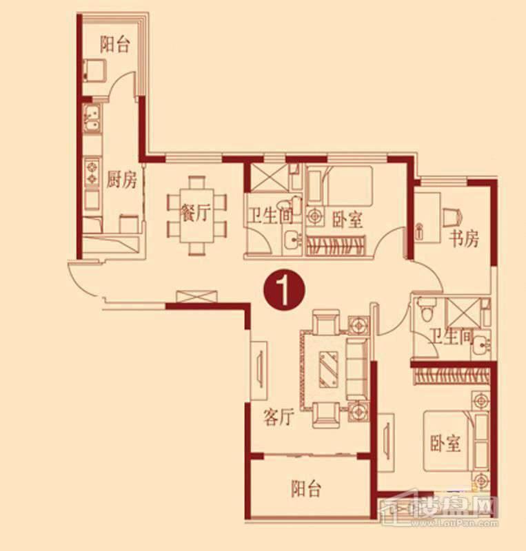恒大绿洲I户型 3室2