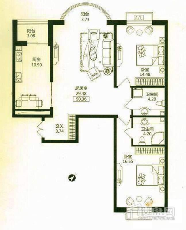 华风海城湾2#3#楼二单元01号户型 2室1厅2卫1厨