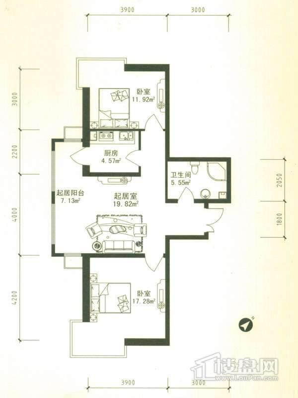 华风海城湾4#楼二单元04号户型2室1厅1卫1厨