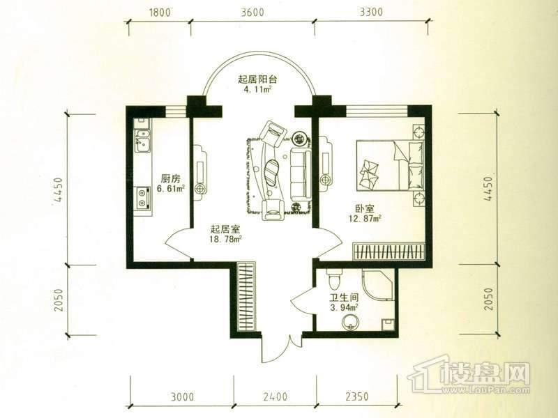 华风海城湾4#楼二单元05号户型1室1厅1卫1厨