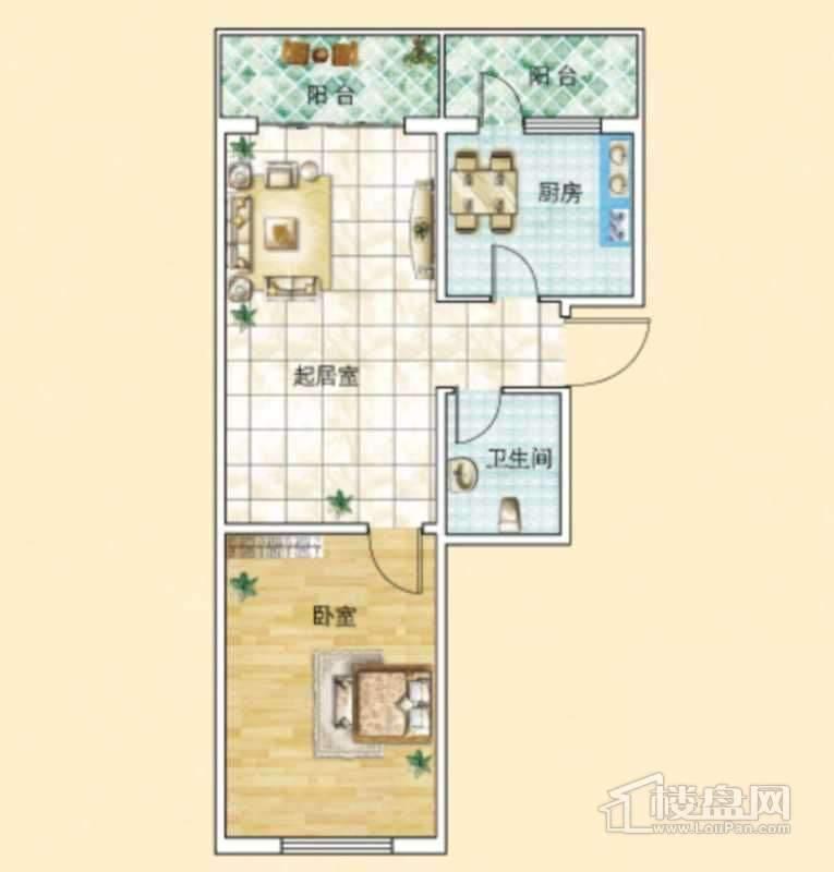 旗凯丽园E户型1室2厅1卫1厨