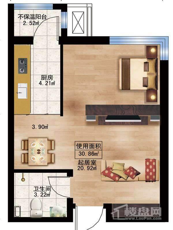 枫蓝国际5-8号楼A户型1室1厅1卫1厨