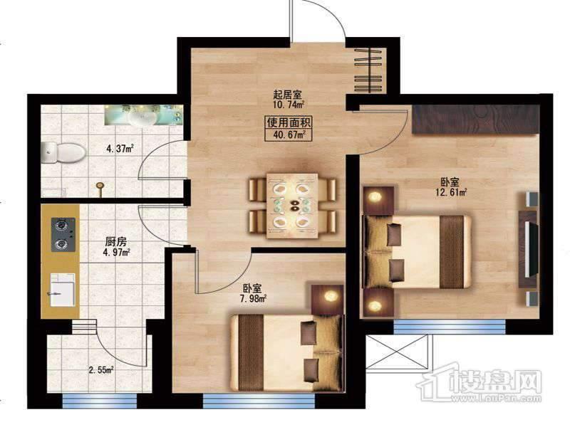 枫蓝国际10.11号楼A户型2室1厅1卫1厨