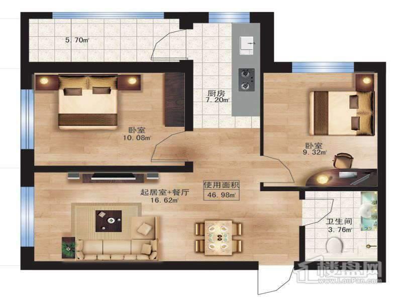 枫蓝国际10.11号楼B户型2室1厅1卫1厨