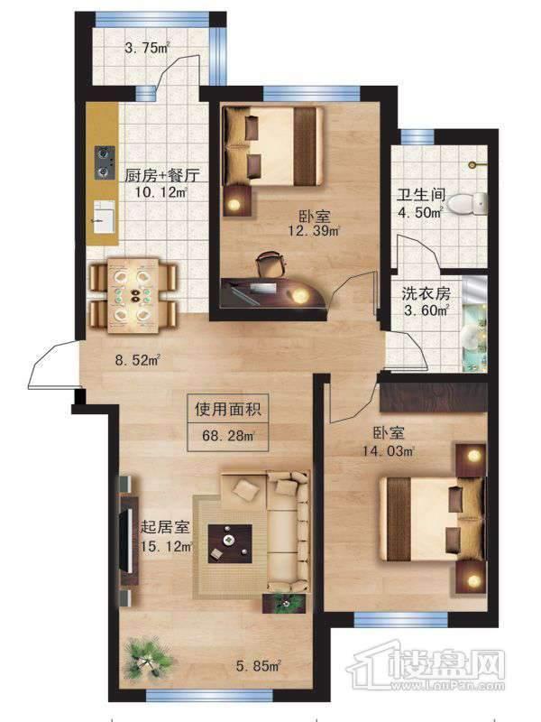 枫蓝国际10.11号楼D户型2室1厅1卫1厨