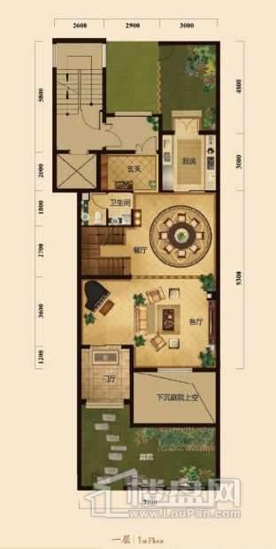 五矿正信榕园一期别墅2层e1户型3室2厅2卫1厨