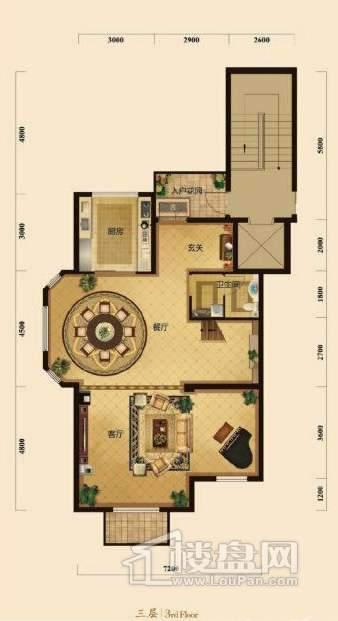 五矿正信榕园一期别墅3层d2户型3室2厅2卫