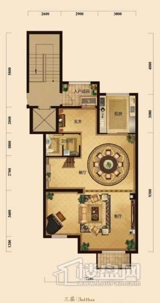 五矿正信榕园一期别墅3层e2户型3室2厅2卫1厨