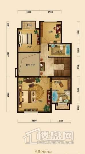 五矿正信榕园一期别墅4层d2户型3室2厅2卫1厨