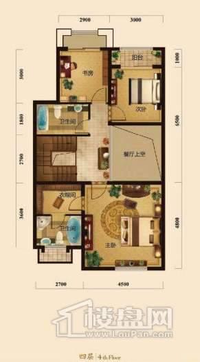 五矿正信榕园一期别墅4层e2户型3室2厅2卫1厨