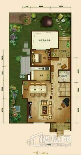 五矿正信榕园一期别墅a1户型1层3室2厅3卫1厨