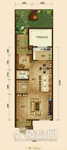 五矿正信榕园一期别墅b1户型1层3室2厅5卫1厨