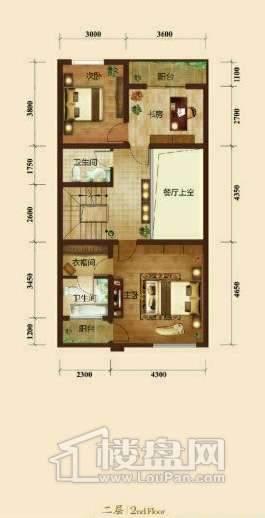五矿正信榕园一期别墅b2户型2层3室2厅5卫1厨