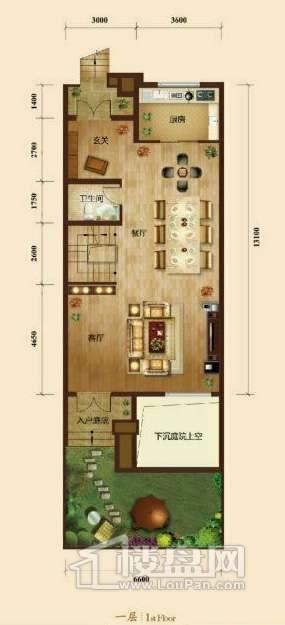 五矿正信榕园一期别墅b2户型1层3室2厅5卫1厨
