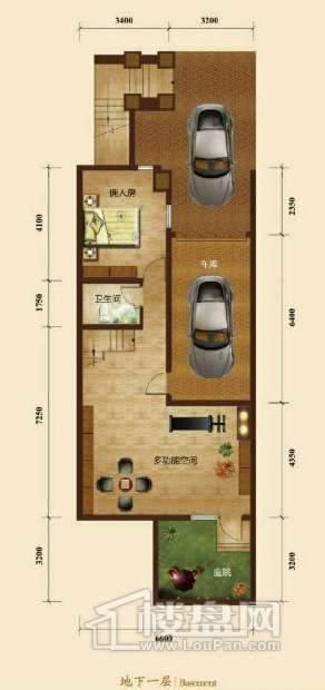 五矿正信榕园一期别墅b2户型地下1层3室2厅5卫1厨
