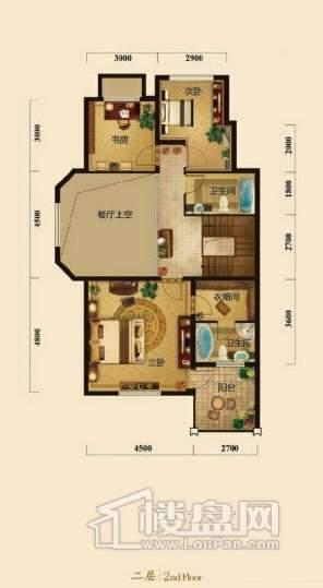 五矿正信榕园一期别墅d1户型2层3室2厅4卫1厨