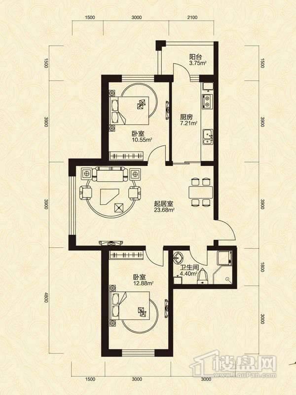 2室1厅1卫1厨