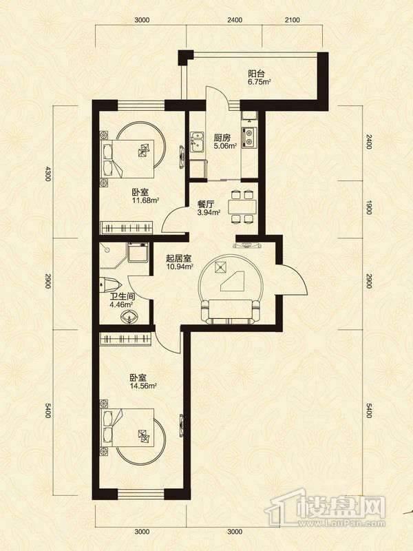 2室2厅1卫1厨