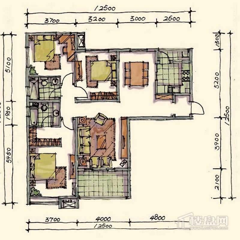 1期小高标准层E-01户型3室2厅2卫1厨