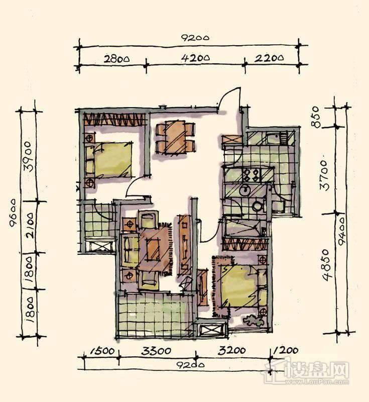 1期小高标准层F-01户型2室2厅1卫1厨