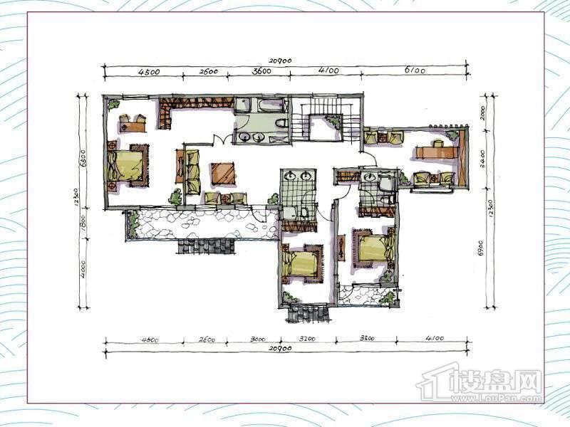 1期别墅A户型地上二层4室2厅3卫1厨