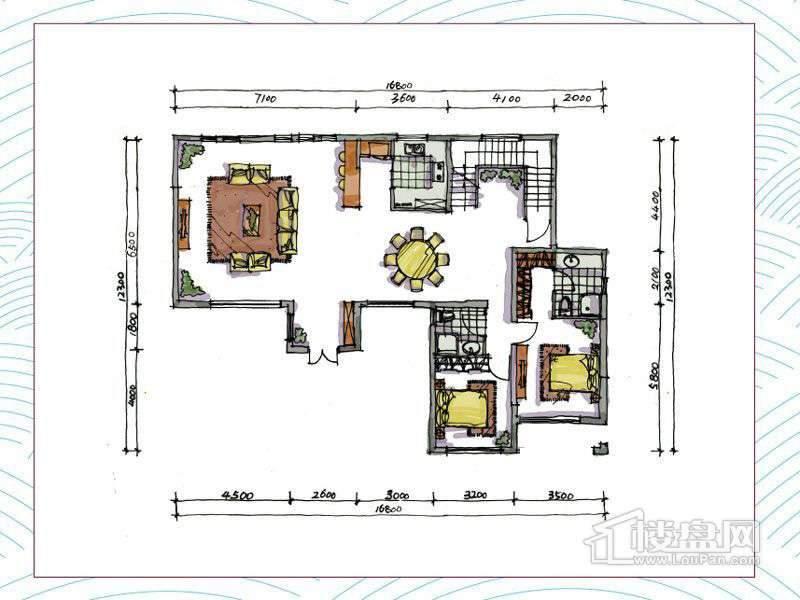 1期别墅A户型地上一层3室2厅2卫1厨