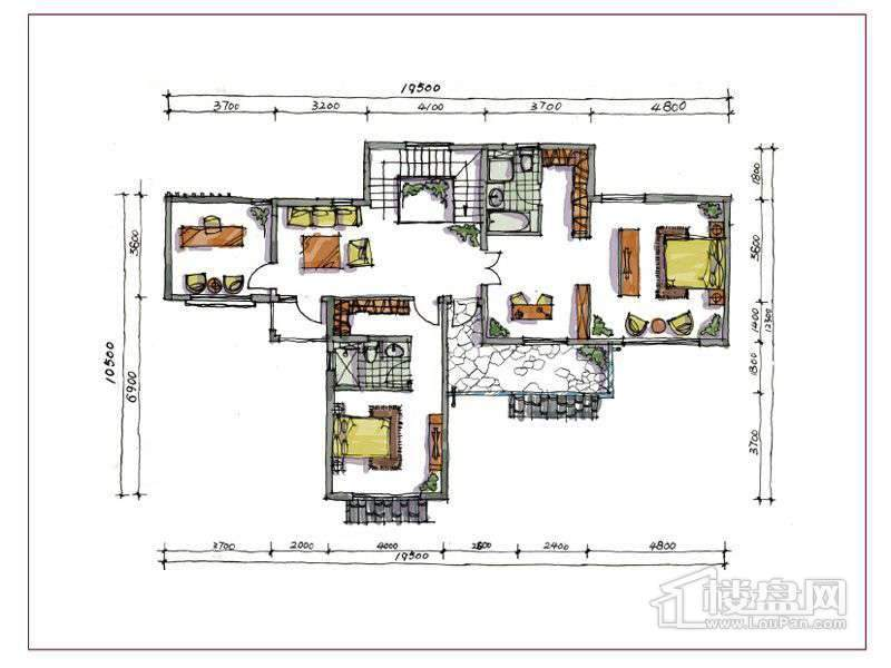 1期别墅B户型地上二层3室2厅2卫1厨