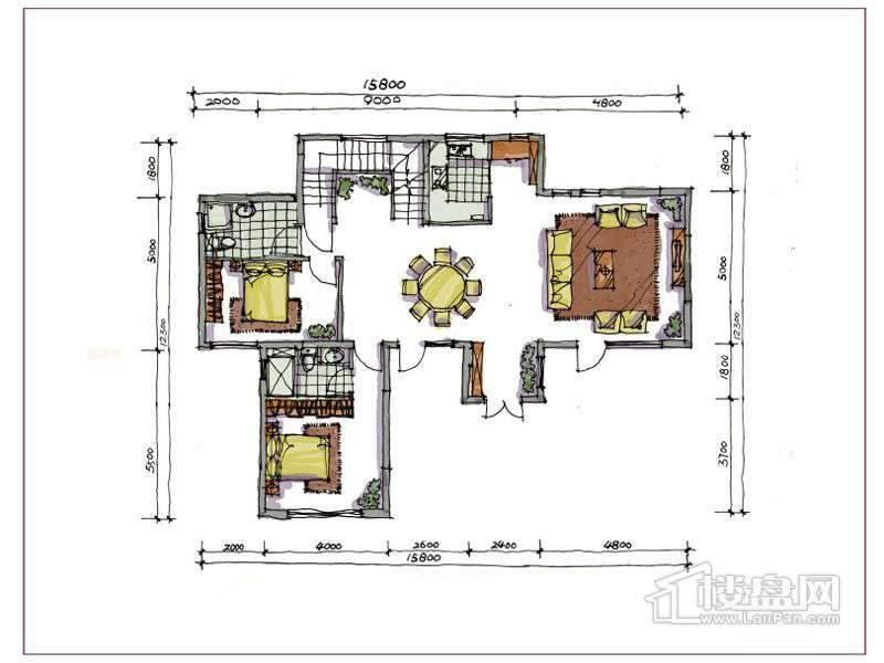 1期别墅B户型地上一层3室2厅2卫1厨