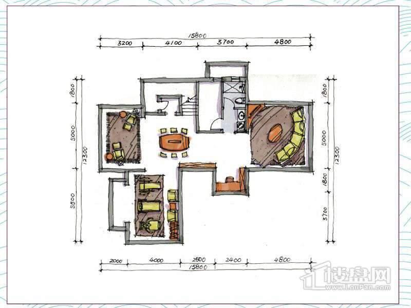 1期别墅B户型地下一层3室2厅2卫1厨