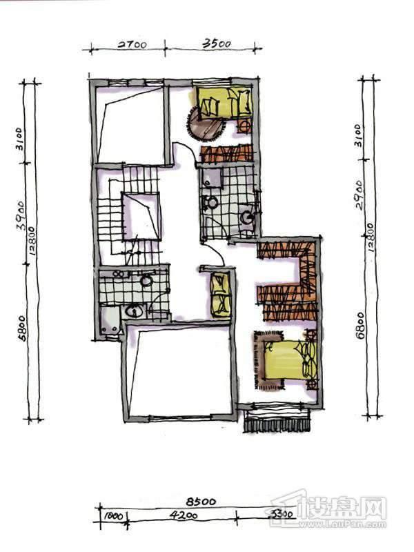 1期联排两室户型地上二层2室2厅2卫1厨