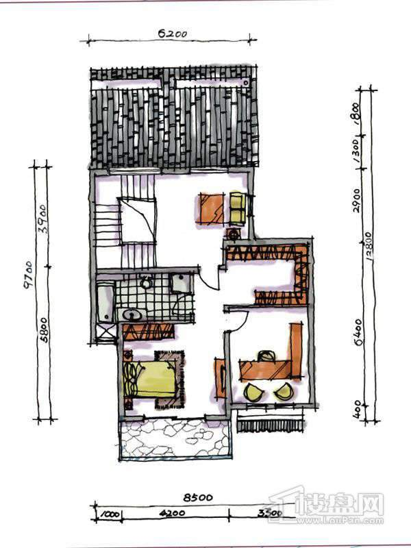 1期联排两室户型地上三层2室2厅1卫1厨