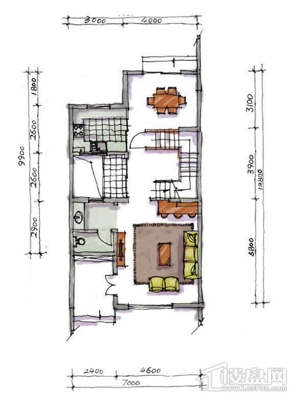 1期联排两室户型地上一层2室1厅1卫1厨