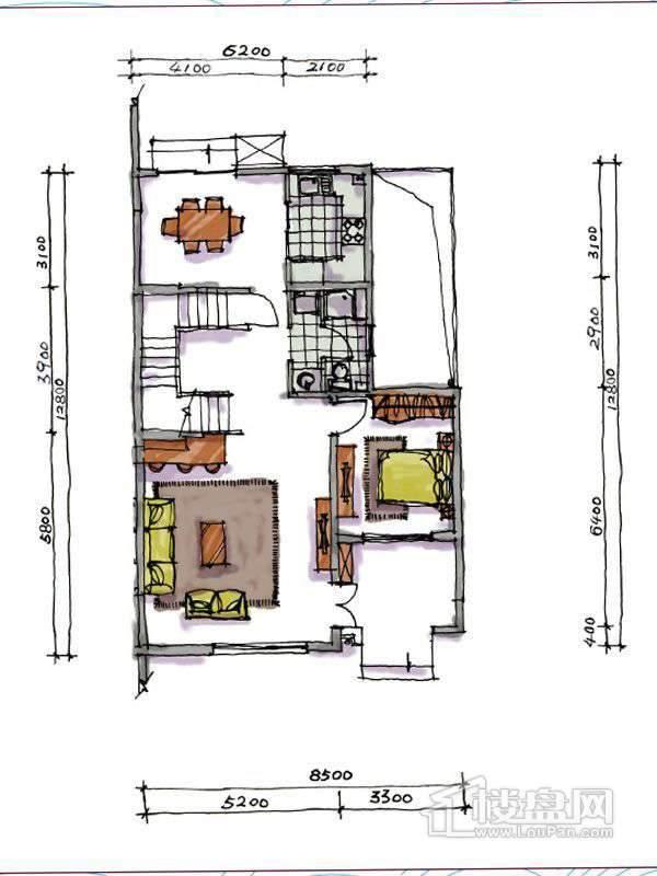 1期联排两室户型地上一层2室1厅2卫1厨