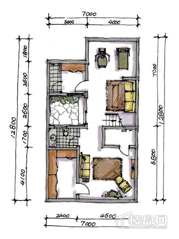 1期联排两室户型地下一层2室1厅1卫1厨