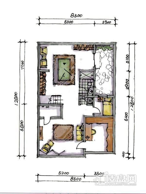 1期联排三室户型地下一层3室2厅1卫1厨