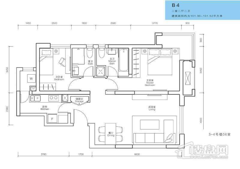 一期3、4号楼28层B2户型05室