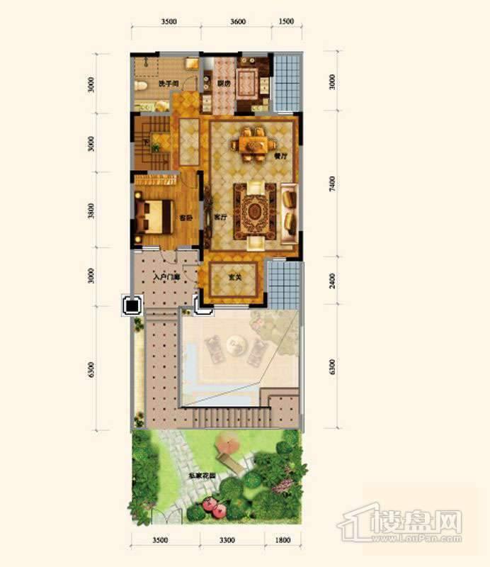 闲庭艺墅地上一层户型图