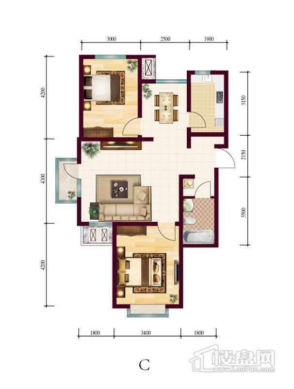 高层4号楼标准层C户型2室2厅1卫1厨