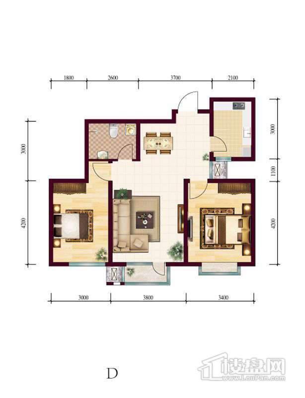高层4号楼标准层D户型2室2厅1卫1厨