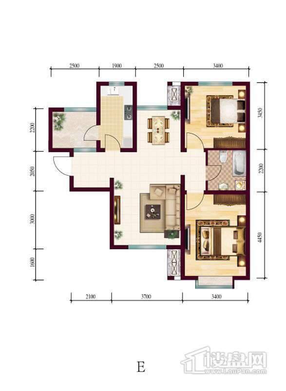 高层4号楼标准层E户型2室2厅1卫1厨
