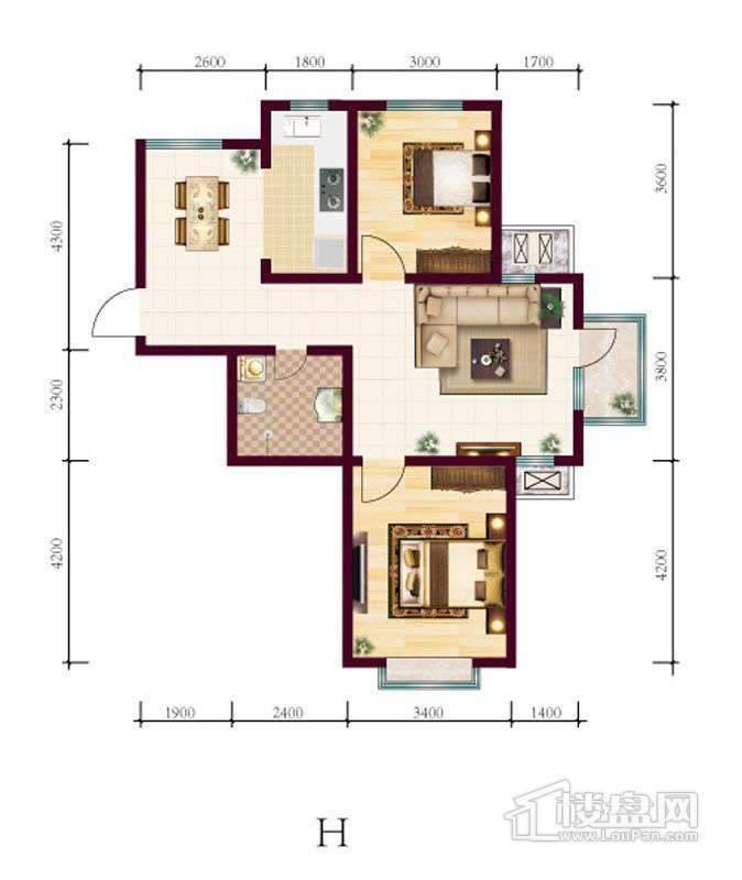 高层4号楼标准层H户型2室2厅1卫1厨