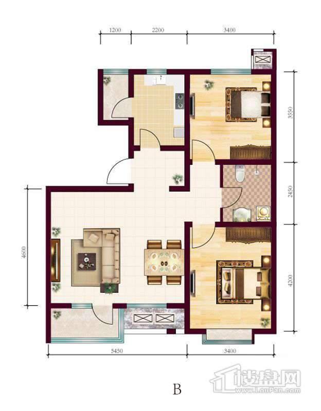 高层5号楼标准层B户型2室2厅1卫1厨