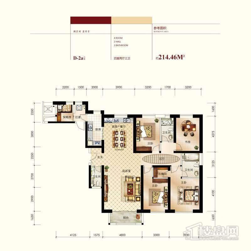 高层标准层D-2a反户型图4室2厅3卫
