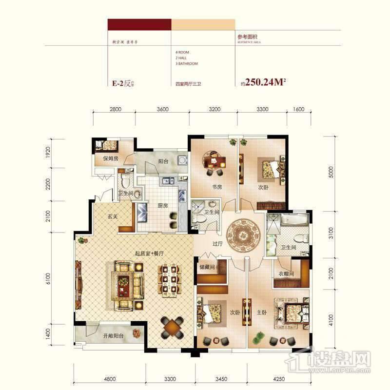 高层标准层E-2反户型图4室2厅3卫1厨