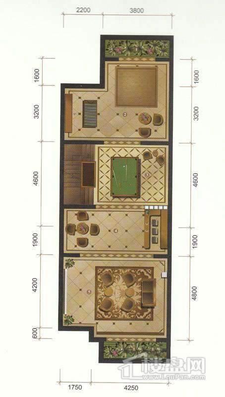 一期联排别墅C户型地下室平面图