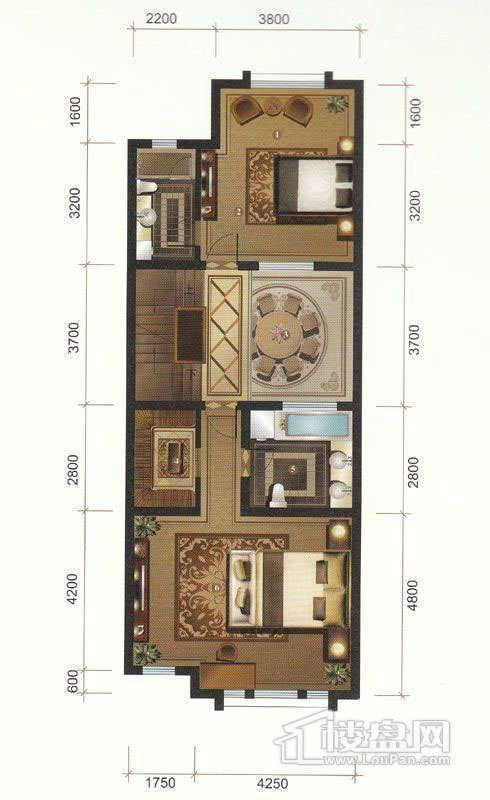 一期联排别墅C户型二层平面图